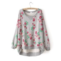 Oversize Rose Print Sweater Shirt