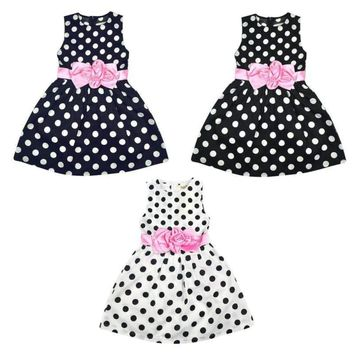 Baby Girls Flower Princess Dress Polka Dot Party Costume Kids Wedding Tutu Dress