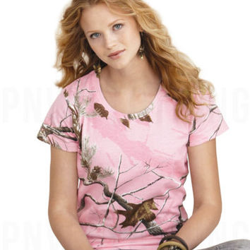 Ladies Pink Realtree Camo T-Shirt Women Camouflage Hunting Tee S M L XL 2XL 3685