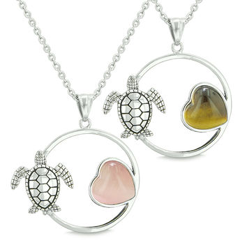 Amulets Cute Sea Turtles Love Couples Set Heart Pink Cats Eye Tiger Eye Pendant Necklaces