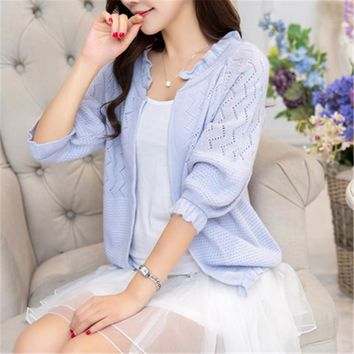 Women's cardigan sweater female short style spring summer thin sweater small shawl air-conditioned knit cardigan sweater ZZ049