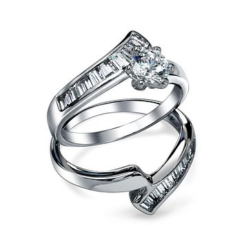 1CT Solitaire AAA CZ Baguette Engagement Ring Set Sterling Silver