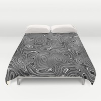 Abstract fancy grey black white design Duvet Cover by ankka