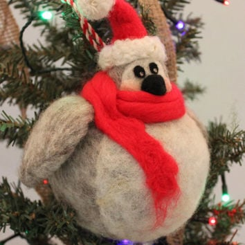 Needle Felted Fat Penguin Ornament