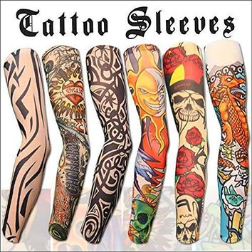 6pcs Set Arts Fake Temporary Tattoo, Arm Sunscreen Sleeves