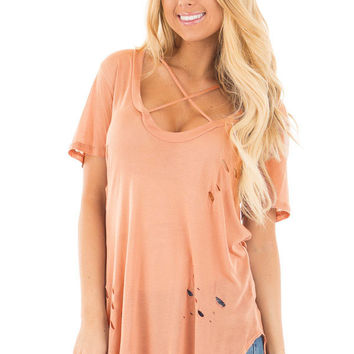 Pink Crisscross Neckline Distressed Cotton T-shirt