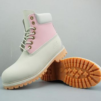 Timberland Leather Lace-Up Boot High Beige Pink Ice Blue White
