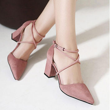 Women's Block High Heels Suede Leather Shoes Pumps Pointed sandals