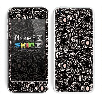 Black Floral Sprout Laced Skin For The iPhone 5c