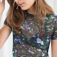 Abstract Floral Mesh Top - Abstract Floral - Tops & T-shirts - & Other Stories GB