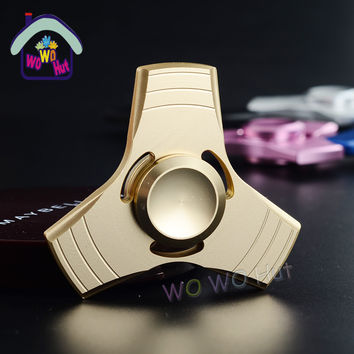 2017 New Blue/Gold Tri-Spinner Fidgets Toy Aluminum Sensory Fidget Spinner For Autism and ADHD Kids/Adult Funny Anti Stress Toys