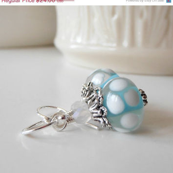 CIJ Sale Aqua Lampwork Earrings White Polka Dots Beaded Dangles Glass Bead Jewelry Antiqued Silver Sterling Earwires ChristmasinJuly