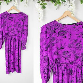 Vintage Floral Purple Long Sleeve Dress