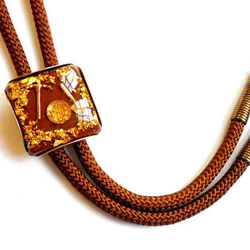Vintage Gold Rush Bolo Tie - Gold Panning - Prospector Prospecting - Brown Cord - Bolas Neck Tie - Necktie - Gift For Him - Gold Leaf Flake
