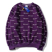 Champion New fashion more letter print long sleeve top sweater Purple