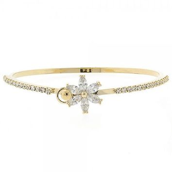 Gold Layered 07.97.0017 Individual Bangle, Flower Design, with White Cubic Zirconia, Polished Finish, Golden Tone (02 MM Thickness, Size 3 - 2.00 Diameter)