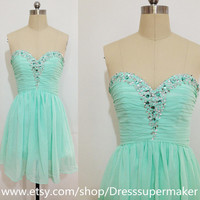 Mint Short Bridesmaid Dress,Handmade Prom Dress 2015,Mint Prom Bridesmaid Dress,Mint Homecoming Dress 2015