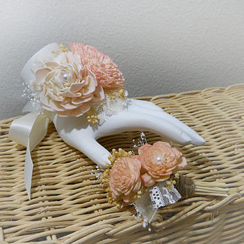 Rustic Antiqued Pink & Blush Wrist Corsage and/or Boutonniere, Rustic, Country, Bohemian, Woodland, Style Weddings. Made to Order.