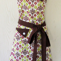Ikat Apron, Colorful, Geometric, Brown, Plum, Lime,  Retro Style, Full Apron, KitschNStyle