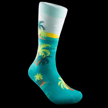 Tropical Palm Tree Johnny Socks Size Mens 9-13