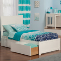 Metro Twin Bed Flat Panel Footboard 2 Urban Bed Drawers White Finish