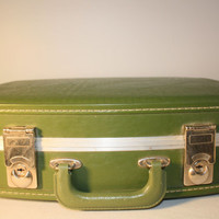 Vintage Carry On Suitcase, Train Case, Avacado Green Luggage, Travel Case