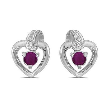 14K White Gold Round Ruby and Diamond Heart Shaped Earrings