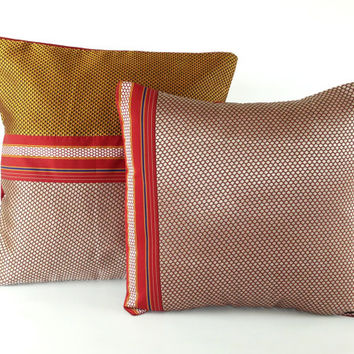 Ethnic Textile Pillow, Silver pillow, Gold Pillow, Red Pillow, Boho Pillow, 16X16 Pillow, Woven Pillow, Couch Pillow, Sofa Pillow