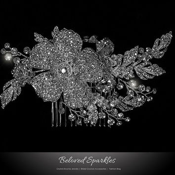 Aida Vintage Flower Statement Hair Comb | Swarovski Crystal