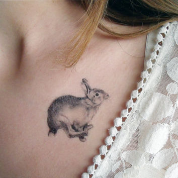 Temporary Tattoos Fox and Rabbit  Includes 2 by BurrowingHome