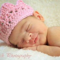 Pink baby crown sparkly silver thread crochet Newborn Photo Prop Custom all colors available custom boy or girl