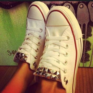 ICIKGQ8 custom studded white converse all star low cuts chuck taylors all sizes colors