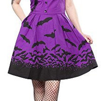 Sourpuss Purple & Black Spooksville Bats Dress
