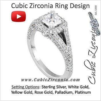 Cubic Zirconia Engagement Ring- The Callie (Princess Cut Halo Setting)