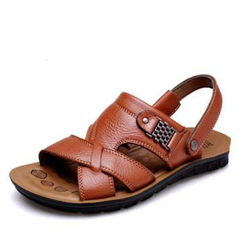 Nice Fashion Cool Summer Fall Sandals Men Genuine Leather Shoes Breathable Slippers Open Toe Buckle Beach Shoes For Man PP115