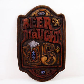 Vintage Beer Draught Sign, Chalkware Plaque, 5 Cent Beers, Man Cave Sign, Bar Sign, Vintage Advertising