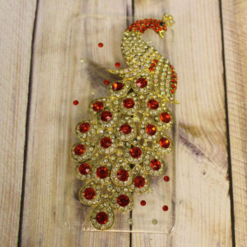 Ipod touch 5, gold and red peacock bling, rhinestone case/cover By Hot2own