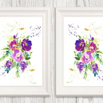 Set of 2 Purple Flower Wall art Printable Purple Gold Lavender Floral Watercolor Home decor Flower art 5x7 8x10 11x14 16x20 INSTANT DOWNLOAD