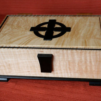 Decorative Maple Box with Celtic Cross by celticboxmaker on Etsy