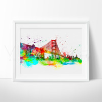 Golden Gate Bridge, San Francisco Skyline Watercolor Art Print