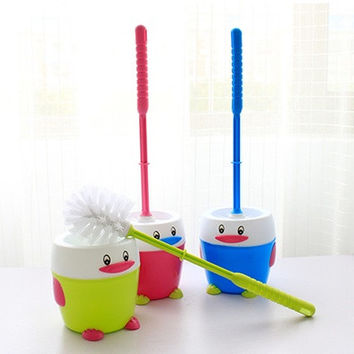 Creative Cartoon Household Cleaning Brushes Toilet Brush Holder Bathroom Accessories Penguin Toilet Brush Set (Size: One Size)