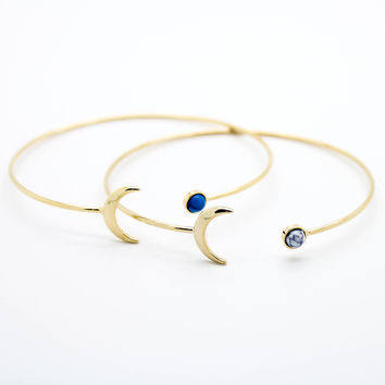 Crescent moon stone bangle bracelet