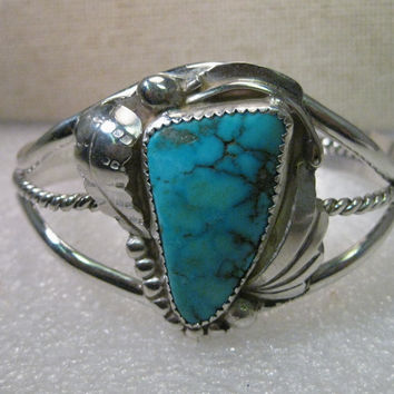 "Vintage Sterling Silver Navajo Turquoise Old Pawn Cuff Bracelet, signed RL, 6.5"", 29.22 grams"