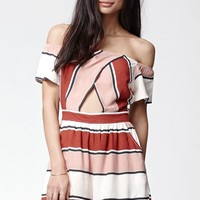 Kendall & Kylie Stripe Off-The-Shoulder Romper - Womens Dress - Brown