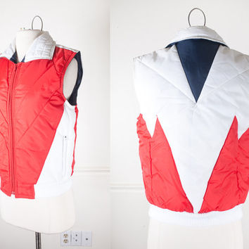 Vintage 80s Ski Vest / 1980s Puffer Jacket / 70s Puffer Coat / Puffy Vest / Chevron Color Block 80s Puffer Vest / Red White and Blue