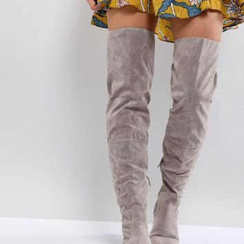Daisy Street Lace Back Grey Over The Knee Boots at asos.com