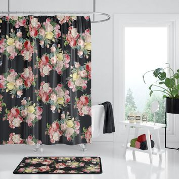 Dark Floral Shower Curtain -  roses on black, designer Decor  - bold retro roses, bathroom, modern home, decor