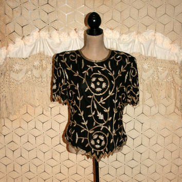 Vintage Beaded Top Cocktail Blouse Large Silk Formal Evening Black Silver Gold Laurence Kazar Beaded Blouse Dressy Tops Womens Clothing