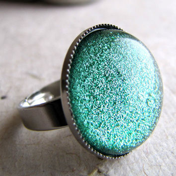 Evergreen Frost Glitter Dome Ring in Silver by AshleySpatula
