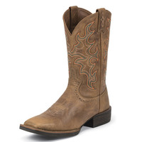 Justin Mens Tiger Tan Buffalo Western Cowboy Boot